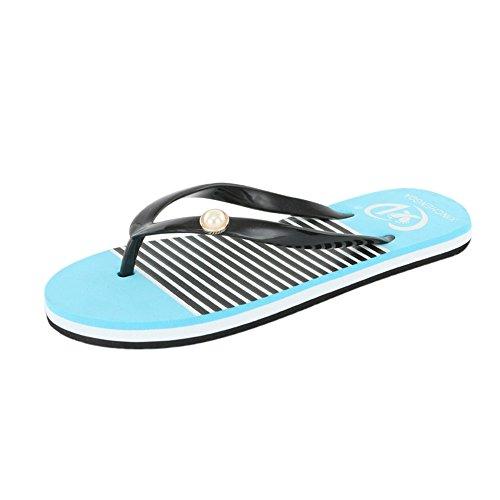 Conquror Été Chaussures Massage Loisirs Chaussons Tongs Femmes Bleu Bains De Salle Décontractés Sandales Pantoufles Plage Doux r57frPW1
