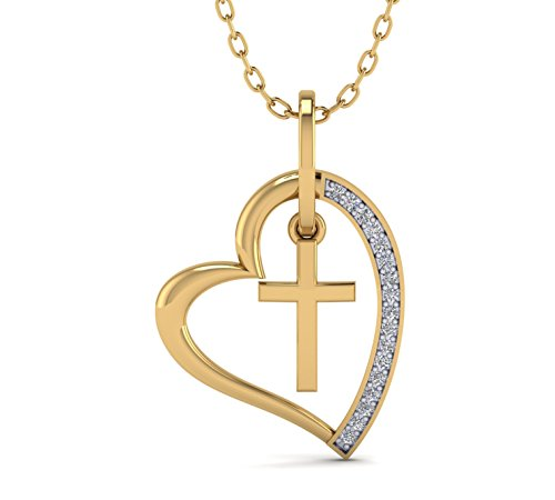 (Fehu Jewel Natural Diamond Christmas Pendant Necklace in 14k White Rose and Yellow Gold Heart Cross Shapes (.085 CT, H-I Color, I1-I2 Clarity) for Women)