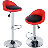 Dickin 2pcs Synthetic Leather Adjustable Rotating Height Bar Stool Chair with Backrest Footrest Chromed Base (US STOCK) Black and Red