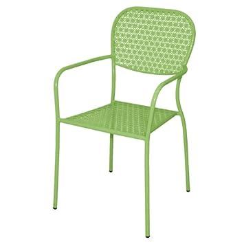 4 X Grün Stahl Gemustert Bistro Sessel Esstisch Cafe Hocker Stuhl