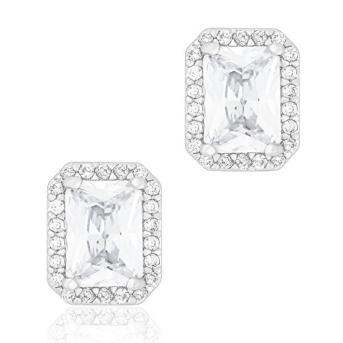 ORROUS & CO Legacy Collection 18K White Gold Plated Cubic Zirconia Emerald Cut Halo Stud Earrings