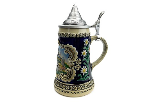 German .6 Liter Blue Castle Beer Stein with ()
