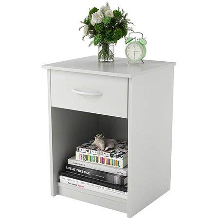 Set of 2 Nightstand MDF End Tables Pair Bedroom Table Furniture Multiple Colors 2 Sets, White + Free Handi Cleaning Cloth