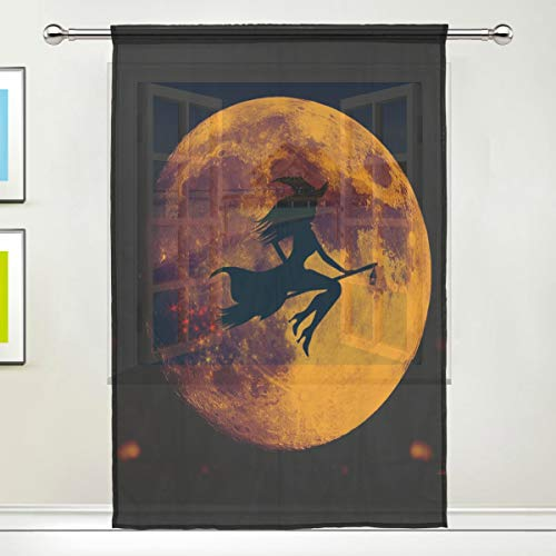 ALAZA Happy Halloween Witch Silhouette Moon Pattern Sheer Window Curtain Polyester Door Window Gauze Curtains(Single Panel) 55 x 84 inch for Living Room Bedroom -