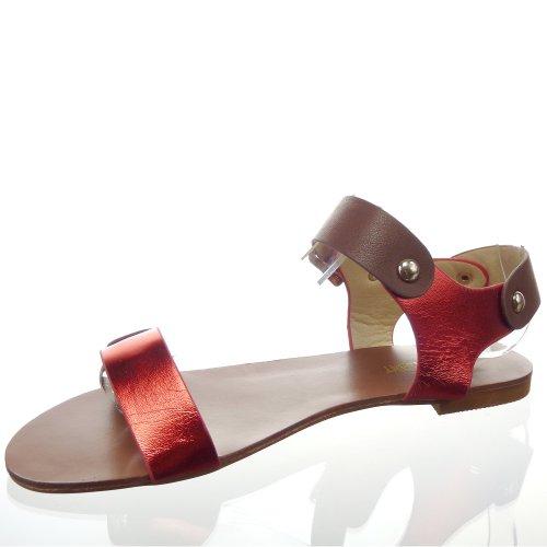 Kickly - Chaussure Mode Sandale Claquettes cheville femmes Clouté Talon bloc 1 CM - Intérieur synthétique - Rouge/Or