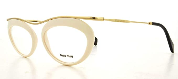 3d62caf8575 Amazon.com  Miu Miu MU56MV Eyeglasses-7S3 1O1 Ivory-51mm  Clothing