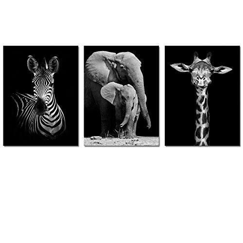 Visual Art Decor Modern Black And White Canvas Wall Art,Animals Picture Prints,Elephant,Zebra,Giraffe Painting Printed on Canvas,Framed and Stretched,Wall Decoration (12