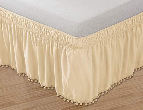 Elegant Comfort Top-Knot Tassle Pompom Fringe Ruffle Skirt Around Style Elastic Bed Wrap- Wrinkle Resistant 16inch Drop, Queen/King, Beige