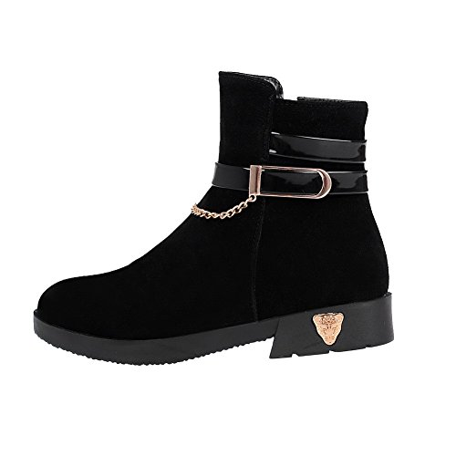 Low Black Boots Low Frosted Heels Solid Round Toe Women's WeenFashion Top Closed PAYqq