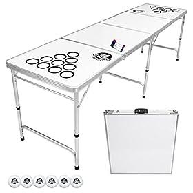 GoPong 8 Foot Portable Beer Pong / Tailgate Tables (Black, Football, American Flag, or Custom Dry Er