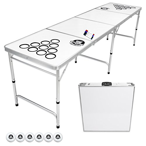 White 8' Hole - GoPong 8 Foot Beer Pong Table with Customizable Dry Erase Surface