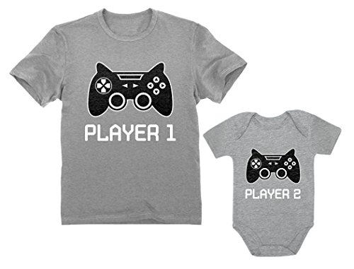 Father son shirts player 1 player 2