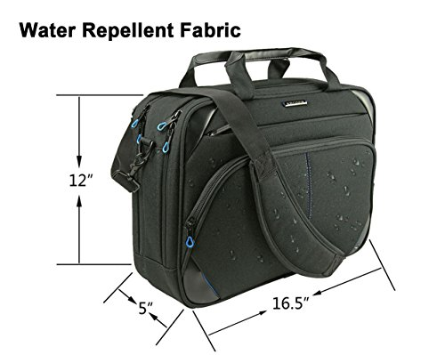 KROSER Laptop Bag 15.6 Inch Laptop Briefcase Laptop Messenger Bag Water Repellent Computer Case Laptop Shoulder Bag Durable Tablet Sleeve with RFID Pockets for Business/College/Women/Men Black/Blue