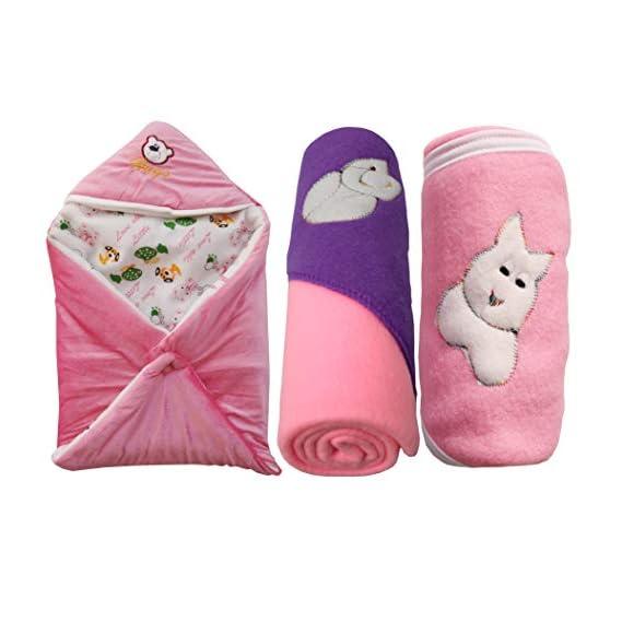 My NewBorn Baby Fleece Hooded Blanket (Pink, 0-3 Months) - Pack of 3