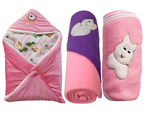 My NewBorn Baby Fleece Hooded Blanket (Pink, 0-3 Months) – Pack of 3