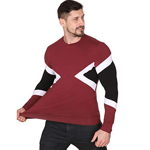 - SEMARO Men's Casual Long Sleeve Tops Contrast Color Slim Fit Crewneck T-Shirt (Red, M)