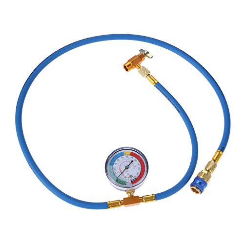 """Aupoko A/C R-134A Refrigerant Recharging Hose Kit - with 1/2'' Acme Male 1/4"""" SAE Female Can Tap Valve, R134A Quick Couple, Low Pressure Gauge and 59'' Recharge Hose - 1 Year Warranty"""