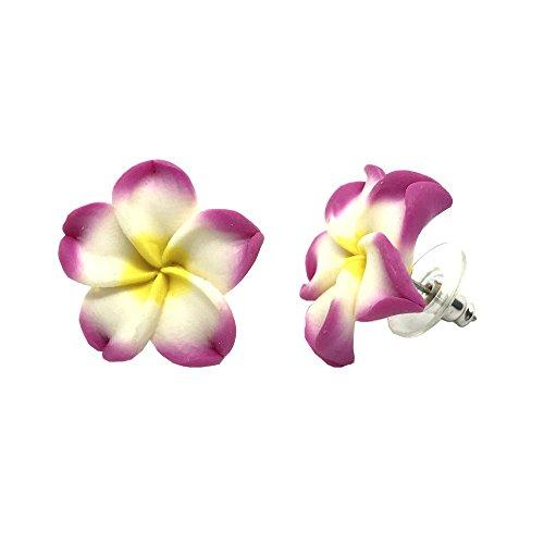 - Hawaiian Jewelry PINK Plumeria Flower Flower Fimo Polymer Clay Stud Earrings - 1/2