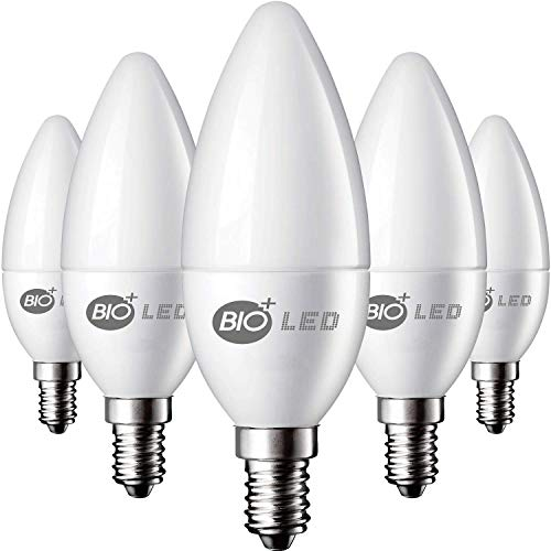 Bioled 6 Pack E12 5W (60Watt Equivalent) Warm White 3200K LED Light Bulbs, Ceiling Fan Light Bulbs, Small Base Lightbulbs, Chandelier Light Bulbs, Candelabra LED Bulbs, Type B11 Bulb, Candle Bulb