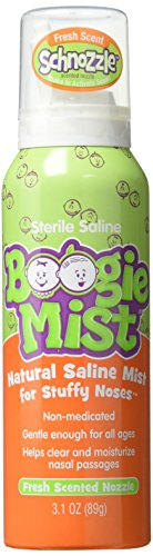Sinus Saline Spray - Boogie Mist Sterile Saline Nasal Spray for Baby and Kids Sensitive Noses Clear Congestion, Fresh Scent, 3.1 Ounce