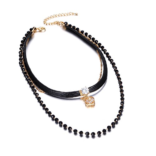 eManco Layers 90s Classic Braided Rope Black Collar Tattoo Choker Bead Chain Pendant Necklace for - Braided Bead Chain