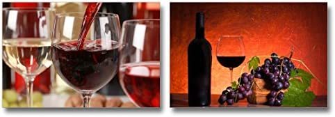 Red Wine Pouring into a Wine Glass Home Deoration Wall Decor x 2 Panels