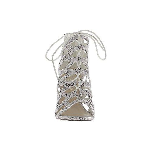 Sandales montantes blanches serpent à talon fin de 9,5cm à lacets