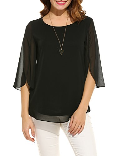 ACEVOG Women's Casual Scoop Neck 3/4 Sleeve Solid Chiffon Blouse Top (Black -