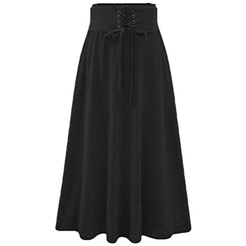 Heheja Mujer Color Solido Ocio Falda Alta Cintura Elegantes Largas Faldas Negro