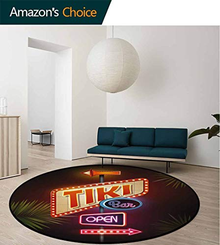 Tiki Bar Modern Machine Washable Round Bath Mat,Old Fashioned Neon Signs Illustration of Open Bar Palm Tree Branches Roadside Non-Slip Soft Floor Mat Home Decor Round-51 Inch,Multicolor