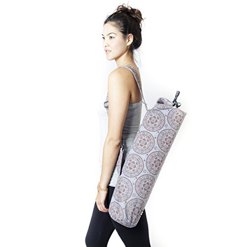 Geometric Om Mandala Cotton Exercise Yoga Mat Bag-Grey-One Size