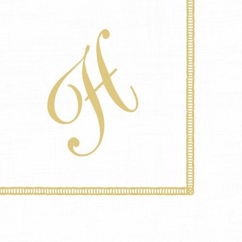 Monogrammed Beverage Napkins - Monogrammed Initials Cocktail Napkins Gold Letter Script 120 Napkins H