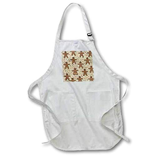 22 by 30-Inch 3dRose apr/_27912/_4 Gingerbread Man Cookies-Full Length Black Apron with Pockets