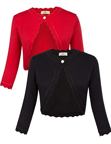 GRACE KARIN Women's Classic 3/4 Sleeve Open Front Knit Cropped Bolero Cardigan (Black+Red, Small)