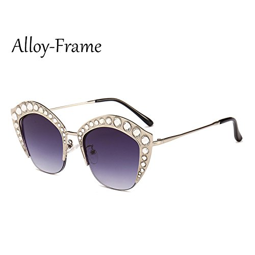 Frame sexy Alloy marco de tonos Mujer Gafas señoras gato G161 Medio Marco gafas TL C8 Sunglasses de Rhinestone de de C6 PC sol ojo AwOOBgPz
