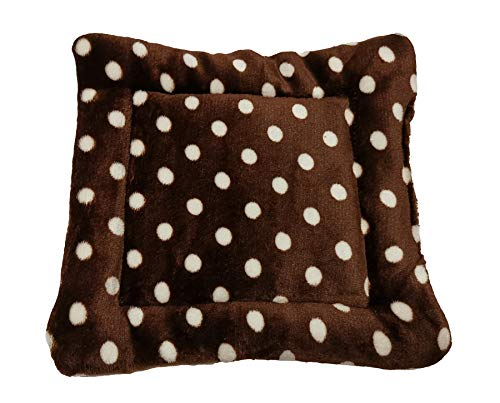 WOWOWMEOW Guinea-Pigs Warm Bed Mat Small Animals Cage Cozy Bed Blanket for Bunny, Hamster, Squirrel, Hedgehog, and Chinchilla (Dots-Coffee)