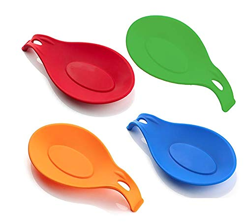 Colored Wood Spoons - Spoon Rest, Spoon Holder, Counter Top Spoon Holder, Silicone Spoon Rest, Spoon Rest for Stove, Non-Stick Large Kitchen Spoon Rest, Cooking Spoon Rest, Spatula Holder (4 Pack)