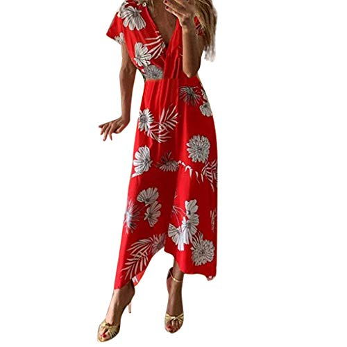- Pongfunsy Womens Dresses Ladies Summer Fashion Dress Casual Print V-Neck Asymmetrical Ankle-Length Loose Party Dress Red