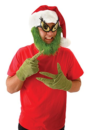 UHC Dr. Seuss Grinch Hat w/ Beard Christmas Theme Party Adult Costume Accessory (Grinch Halloween Costume)