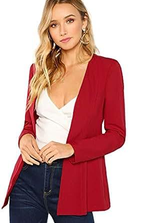 Floerns Women's Casual Work Office Open Front Blazer Jacket Red XS