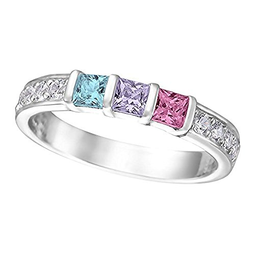 Ring Three Pink Czs - NANA Princess w/side CZs Mothers rings 1 to 6 Simulated Birthstones - Sterling Silver - Size 5.5