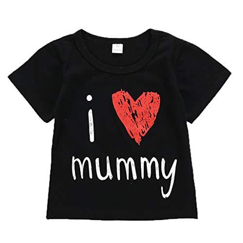 Gallity Children's Short Sleeve Letter Printed T-Shirt Children's Girls Boys T-Shirt Top I Love Mummy (70, Black)]()