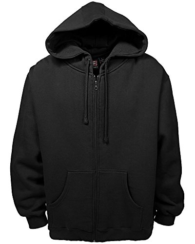 Akwa Made in USA Men's Full Zip Cotton Polyester Fleece Hoodie with American Flag Applique Black