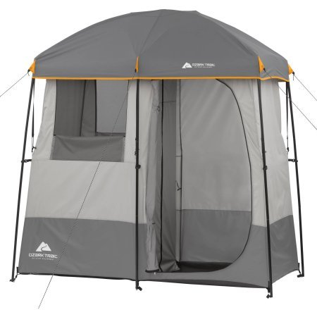 2-Room Non-Instant Shower Tent with 5-Gallon Solar Heated Shower and Removable Rainfly by OZARK