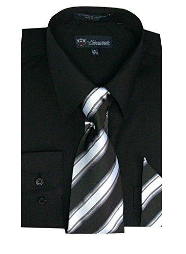 (Milano Moda Men's Long Sleeve Dress  With  Tie And Handkie SG21A-Black-15-15 1/2-34-35)