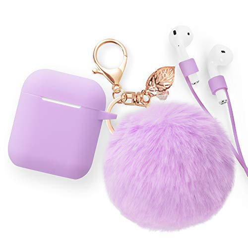 for Airpods Case Keychain, BLUEWIND AirPod Charging Protective Case, for Apple Airpods 2 & 1 Charging Case, Portable Carrying Earpods Case Strap, Keychain, Soft Fluffy Ball (Lilac)