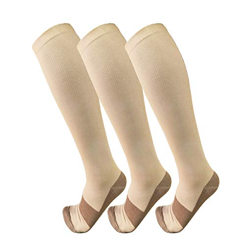 Copper Compression Socks for Men & Women(3 Pairs),15-20mmHg is Best for Running,Athletic,Medical,Pregnancy,Travel,Hiking (Skin Color Tights Men)