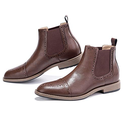 GM GOLAIMAN Men's Chelsea Boots Cap-Toe Semi-Brogue Boots Ankle Dress Boots Slip On Brown 9.5