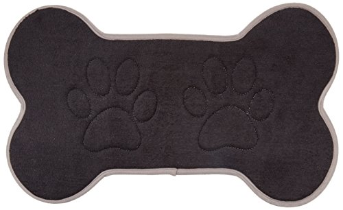 Beatrice Home Fashions BONFMT21BLK Bone Shaped Feeding Mat, Black/Gray