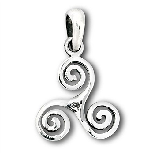 Trinity Triskelion Pendant Sterling Silver Spiral Trinacria Triple Swirl Charm - Silver Jewelry Accessories Key Chain Bracelet Necklace Pendants ()